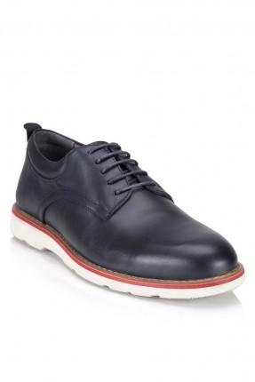 حذاء رجالي جلد سادة مع رباط سبور - ازرق داكن