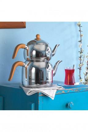 ابريق شاي تركي ستانلس - مقبض خشبي