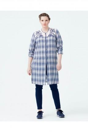 قميص نسائي طويل مقلم سبور شيك