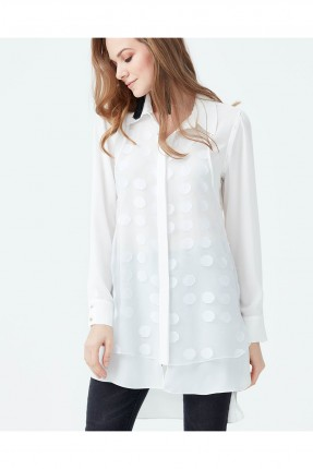 قميص نسائي منقوش دوائر سبور شيك