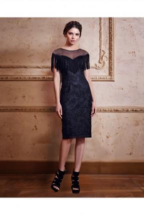 فستان رسمي شيفون شفاف من الاعلى مكشكش - اسود