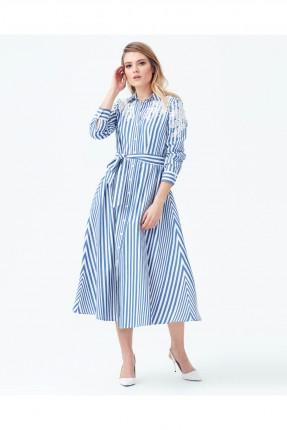 فستان سبور مع ازرار مقلم مزين دانتيل من الاعلى