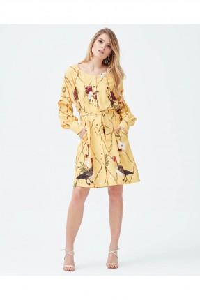فستان سبور منقوش مع ازرار - اصفر