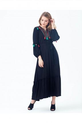 فستان سبور مطرز من الاعلى طويل