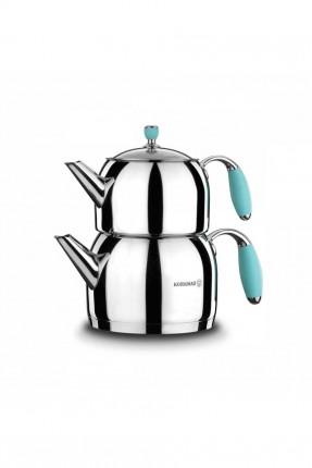 ابريق شاي تركي ستانلس - مقبض تركواز