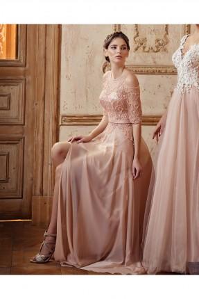 فستان رسمي مفرغ الكتاف مطرز