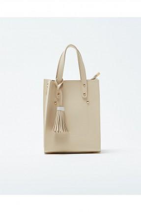 حقيبة يد نسائية مزينة معدن كلاسيكي - بيج