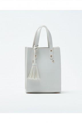 حقيبة يد نسائية مزينة معدن كلاسيكي - ابيض