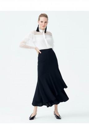 تنورة طويلة مطبقة سبور - اسود