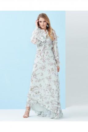 فستان نسائي طويل مورد مكشكش سبور