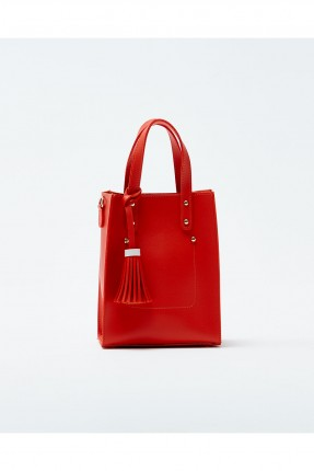 حقيبة يد نسائية مزينة معدن كلاسيكي - احمر
