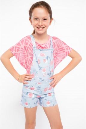 افرول اطفال بناتي جينز منقش - ازرق