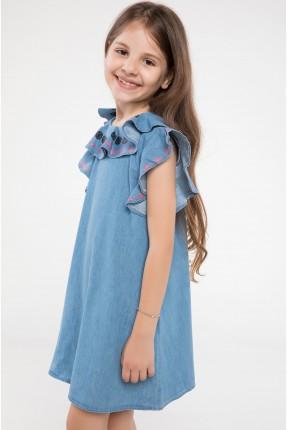 فستان اطفال بناتي جينز مع كشكش - ازرق