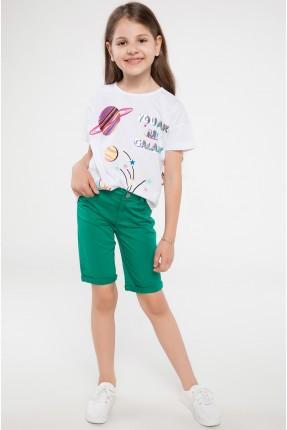 شورت اطفال بناتي مع جيوب - اخضر