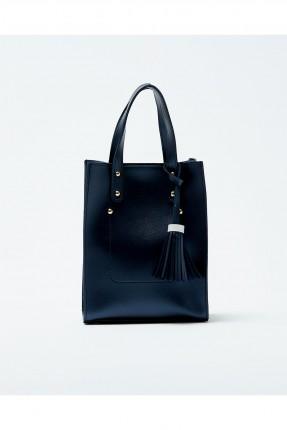 حقيبة يد نسائية مزينة معدن كلاسيكي - ازرق داكن