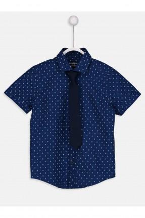 قميص اطفال ولادي مزخرف مع كرافة