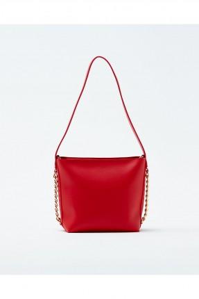 حقيبة يد نسائية مزينة معدن مع حزام كتف سادة - احمر