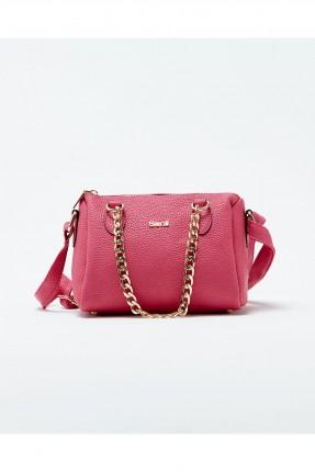 حقيبة يد نسائية مع حزام معدن - فوشيا