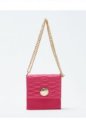 حقيبة يد نسائية مع غطاء وحزام كتف معدن - فوشيا