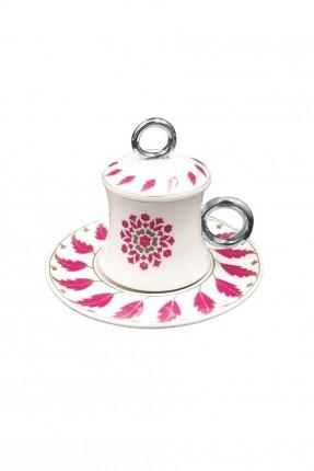 طقم فنجان قهوة بنقوش مع غطاء / 6 اشخاص /