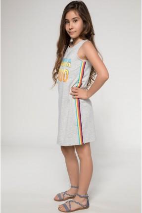 فستان اطفال بناتي حفر - رمادي