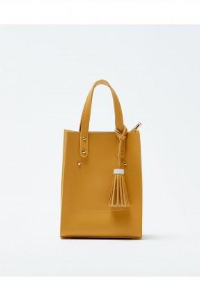 حقيبة يد نسائية مزينة معدن كلاسيكي - اصفر