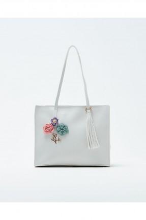 حقيبة يد نسائية مزينة ازهار سبور شيك - ابيض