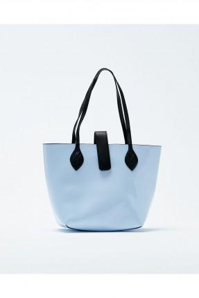 حقيبة يد نسائية جلد مع حزام كتف - ازرق