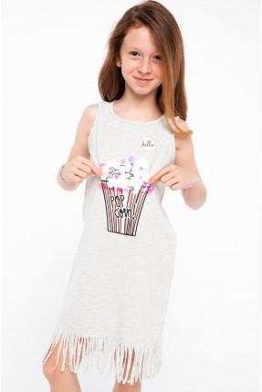 فستان اطفال بناتي مع شراشيب  - رمادي