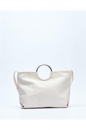 حقيبة يد نسائية جلد مع حلقة معدن - بيج
