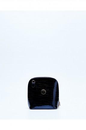 حقيبة يد نسائية جلد مع سحاب وحزام كتف - ازرق داكن