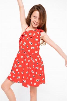 فستان اطفال بناتي منقش مع كشكش - احمر
