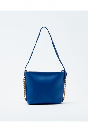 حقيبة يد نسائية مزينة معدن مع حزام كتف سادة - ازرق