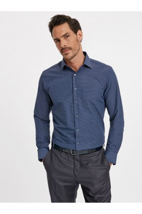 قميص رجالي اكمام طويلة - ازرق داكن