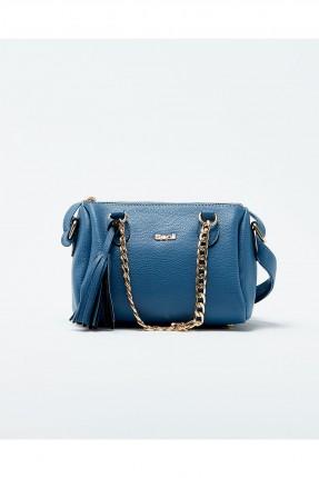 حقيبة يد نسائية مع حزام معدن - ازرق