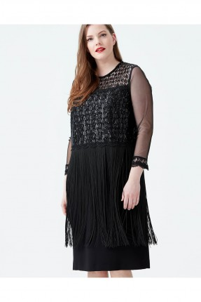 فستان رسمي مطرز مكشكش باكمام شيفون - اسود