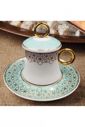 طقم فنجان قهوة مزخرف مع غطاء / 6 اشخاص /