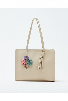 حقيبة يد نسائية مزينة ازهار سبور شيك - بيج