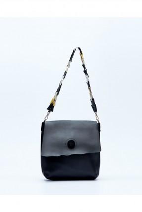 حقيبة يد نسائية مع غطاء وحزام كتف ملون - اسود
