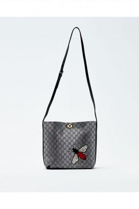 حقيبة يد نسائية منقوشة مع حزام كتف طويل - فضي