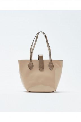 حقيبة يد نسائية جلد مع حزام كتف - بيج