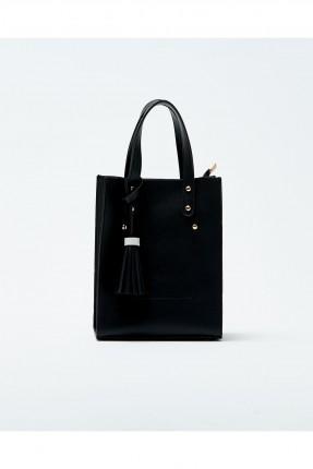حقيبة يد نسائية مزينة معدن كلاسيكي - اسود