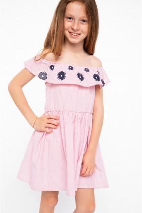فستان اطفال بناتي مع كشكش - وردي