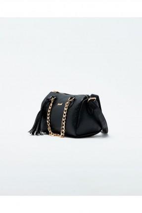 حقيبة يد نسائية مع حزام معدن - اسود