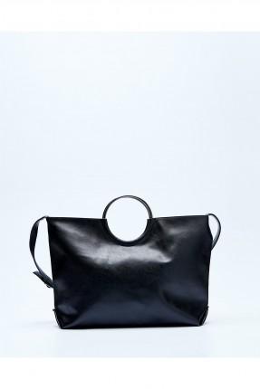 حقيبة يد نسائية جلد مع حلقة معدن - اسود