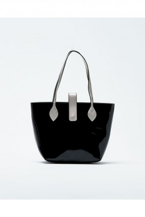 حقيبة يد نسائية جلد مع حزام كتف - اسود