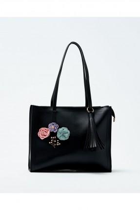 حقيبة يد نسائية مزينة ازهار سبور شيك - اسود