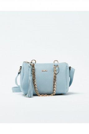 حقيبة يد نسائية مع حزام معدن - ازرق فاتح