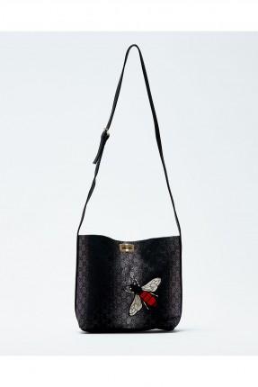 حقيبة يد نسائية منقوشة مع حزام كتف طويل - اسود