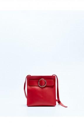 حقيبة يد نسائية مزينة بحزام سبور - احمر